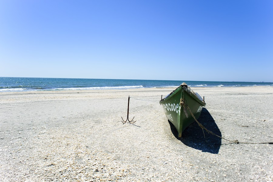 Blue Summer by Andreea Alexe - Landscapes Beaches ( shore, wild, sand, old, waves, green, white, sea, beach, rusty, boat, heat, anchor, sky, blue, secluded, summer, abandoned, mid-day,  )