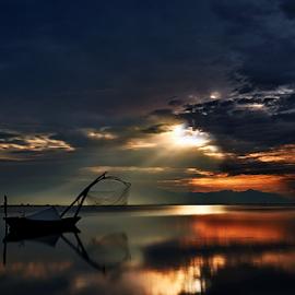 ------- by Dimitrios Lamprou - Transportation Boats ( exposure, sky, lagoon, sunrise, long, mesologgi )