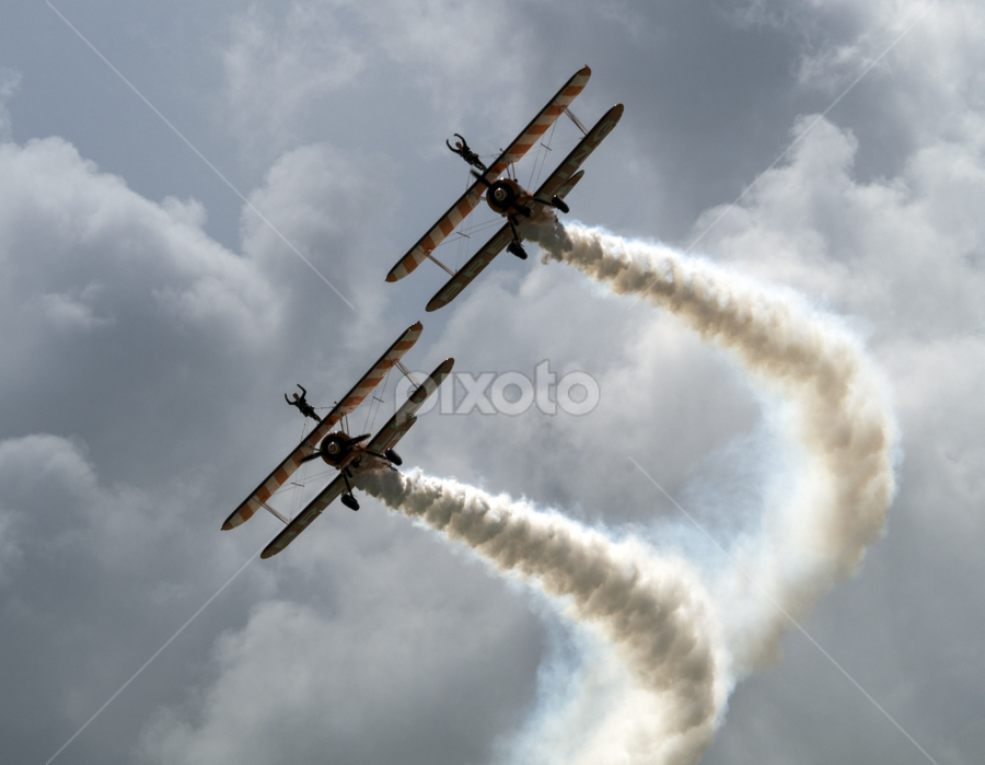 Wingwalkers by Peter Greenhalgh - Transportation Airplanes ( clouds, bi-planes, breitling, wingwalkers, smoke, eastbourne, air show )