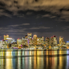Downtown Boston by Cary Chu - City,  Street & Park  Night