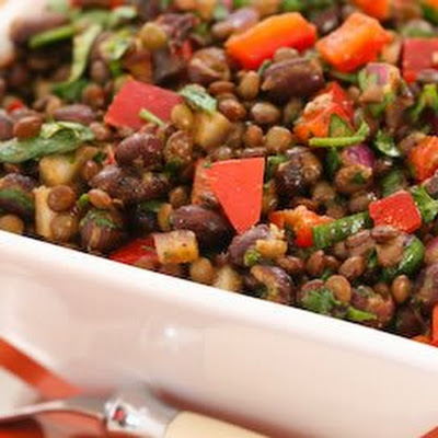 Black Bean and Lentil Salad with Red Bell Pepper, Cumin, and Cilantro