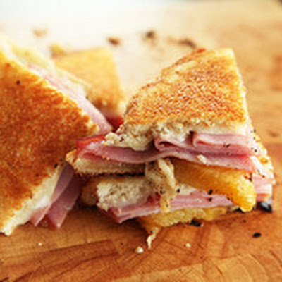 Grilled Cheese with Roasted Pineapple, Ham, and Swiss