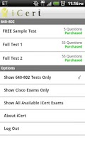 Screenshot of iCert Practice Exam for CCNA