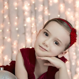Rayla in red by Jenny Hammer - Babies & Children Child Portraits ( child, girl, christmas, red dress, portrait )