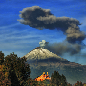 Smoking volcano and church by Cristobal Garciaferro Rubio - Landscapes Mountains & Hills