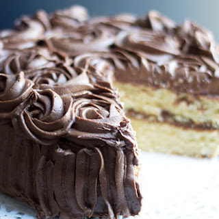Rich Vanilla Cake with Chocolate Fudge Icing