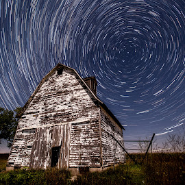 Iowa Farm Star Trails by Justin Rogers - Buildings & Architecture Other Exteriors ( light painting, night photography, long exposure, star trails, nightscape )