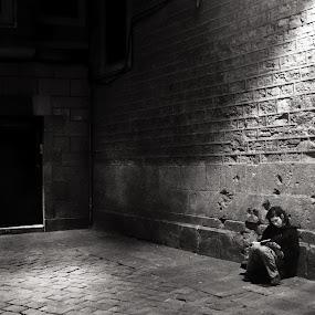 Night Reader by Joan Vega - City,  Street & Park  Street Scenes ( b&w, street, candid, night, barcelona )
