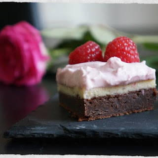 Brownie Cheesecake With Fresh Raspberry Cream Topping