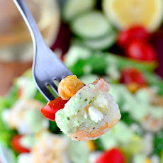 Santorini Salad with Cucumber-Basil Yogurt Dressing