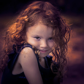 Lioness by Karen Raymond Burke - Babies & Children Child Portraits ( child, girl, sweet, red hair, beautiful, curls, eyes )