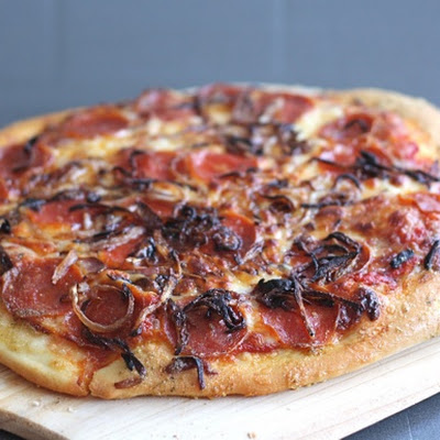Spicy Pepperoni Pizza with Caramelized Onions