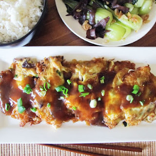 Chicken Egg Foo Yung and Garlic Bok Choy