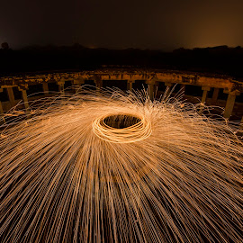 Steel Wool at Abandoned Site by Ravikanth Kurma - Abstract Light Painting ( wire, spin, circle, steel, sparks, light, wool, painting, pillars, abandoned )