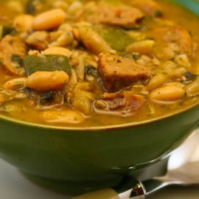 White Bean Soup with Roasted Turkey Italian Sausage, Zucchini, and Basil
