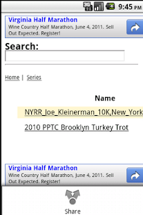 Running Results Search NYC,etc - screenshot