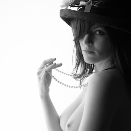 6th Girl by Gary Mitchell - Nudes & Boudoir Artistic Nude ( model, topless, nude, female, pearls, hat )