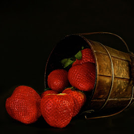 Strawberries by Jesus Leal - Food & Drink Fruits & Vegetables ( strawberries, background, fruits, lot, black )