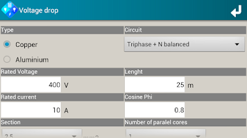 Screenshot of SEE Electrical Calculator