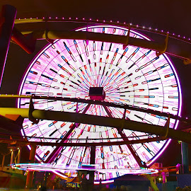 Santa Monica by Dean Mayo - City,  Street & Park  Amusement Parks ( lights, rollercoaster, amusement park, santa monica, night, beach, fun, ferris wheel,  )