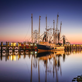 Shrimp Boat on Back Bay by Stephen Marshall - Transportation Boats ( water, biloxi, fish, shrimp, pier, sunrise, fishing, boat, commercial, rocks, mississippi, creativity, lighting, art, artistic, purple, mood factory, lights, color, fun )