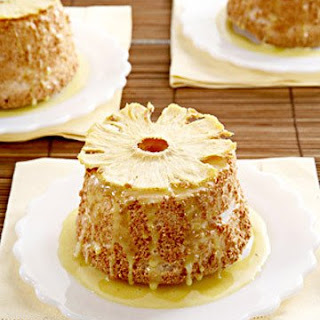 Allspice Angel Food Cakes with Pineapple Curd and Oven-Dried Pineapple