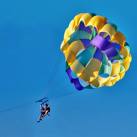 UP, UP AND AWAY!!! by Irene Martinelli - Sports & Fitness Other Sports ( purple, yellow, people, color )