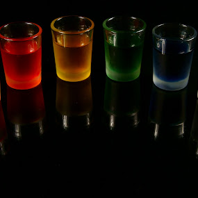 Rainbow Shots by Sondra Sarra - Artistic Objects Other Objects ( orange, reflection, red, glasses, purple, blue, colorful, green, glass, yellow, black, six )