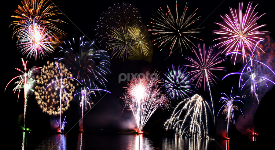 by Suann Vandewalker - Abstract Fire & Fireworks ( water, holiday, reflection, wow, colors, fireworks )
