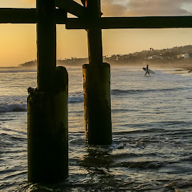 Evening surf, Pacific Beach, CA, USA by Steve Griffiths - Landscapes Beaches ( sunset, pier, sea, beach, surf, sun )