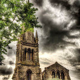 Church- Enfield Chase by Laura Prieto - Buildings & Architecture Places of Worship ( clouds, religion, church, enfield, anglican )