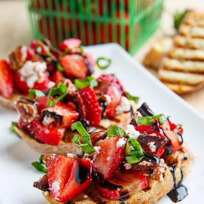 Strawberry Bruschetta with Bacon, Candied Pecans and Goat Cheese with a Balsamic Drizzle
