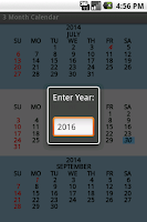 Screenshot of Three Month Calendar