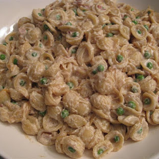 Orechiette with Ricotta, Caramelized Onions, Pancetta and Peas