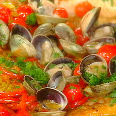 Orange Roughy with Sweet and Hot Peppers and Manila Clams