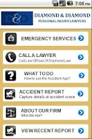 Screenshot of Accident app by Diamond Law