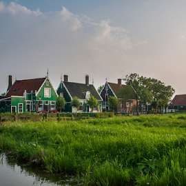 houses at Zaanse Schans by Anneke Reiss - Buildings & Architecture Statues & Monuments ( water, old, zaanse schans, green, dutch, house, windmill, fields )