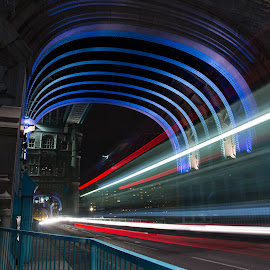 tower bridge light trails by Tony Volley - Buildings & Architecture Bridges & Suspended Structures ( traffic, london, night photography, tower bridge, light trails, city )