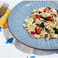 Orzo Salad with Cherry Tomatoes, Feta, Spinach and Mint