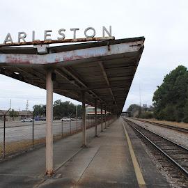 Train Station  by Prentiss Findlay - Transportation Railway Tracks ( amtrak, traintracks, railroadtracks, trainstop, trainstation )