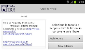 Screenshot of Università Roma TRE