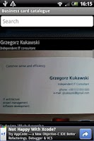 Screenshot of Business cards organized