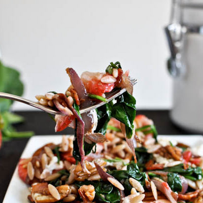 Warm Strawberry Spinach Salad