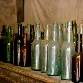 Old Glass Bottles, Liarsville, Alaska by Kathleen Koehlmoos - Artistic Objects Glass ( antique store, antique glass, alaska, old glass bottles, liarsville )