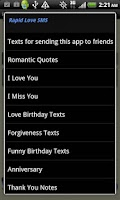 Screenshot of Rapid Love SMS - LITE