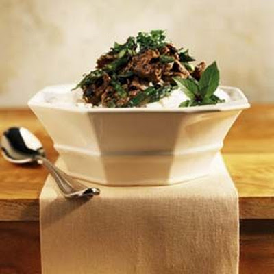 Spicy Black Bean Beef with Thai Basil and Jasmine Rice