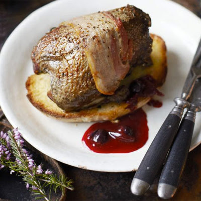 Roast Grouse With Blackcurrant & Beetroot Sauce
