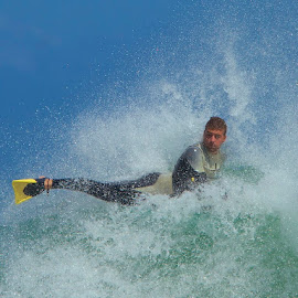 Spinning on a wave by Dan Pawson - Sports & Fitness Surfing ( body, board. spin, ocean, surf )