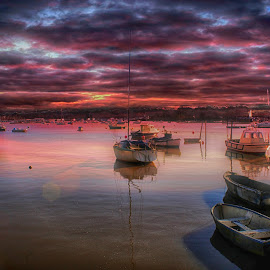St helens harbour sunset by Kelly Murdoch - Landscapes Sunsets & Sunrises ( water, uk, purple, harbour, boats, reflections, sea, sun, ztam, colours, england, st helens, seasons, sailing, sunset, iow, isle of wight )
