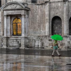Green in the rain by Cesare Morganti - City,  Street & Park  Street Scenes ( walking, green, umbrella, reflections, rain )